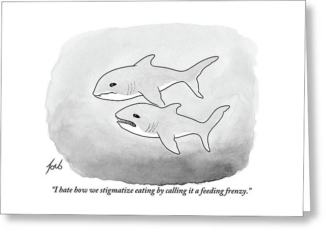 Two Sharks Talking About Eating Greeting Card