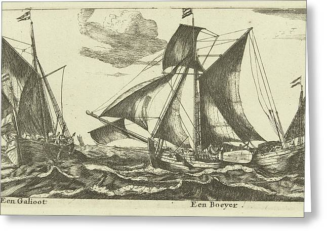 Two Ships A Galliot And Boeier, Anonymous Greeting Card