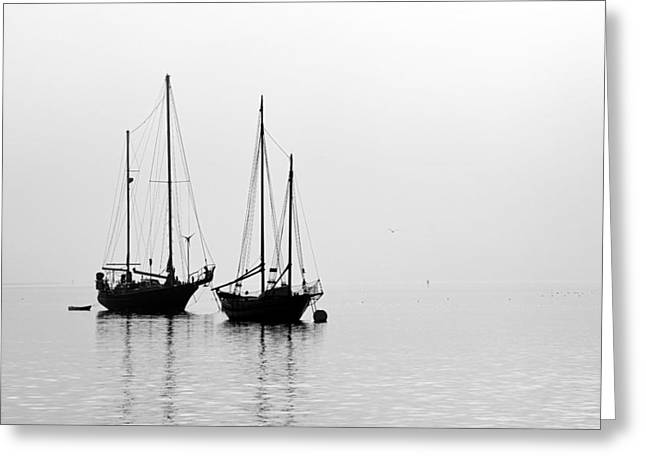 Two Ships In The Fog Greeting Card