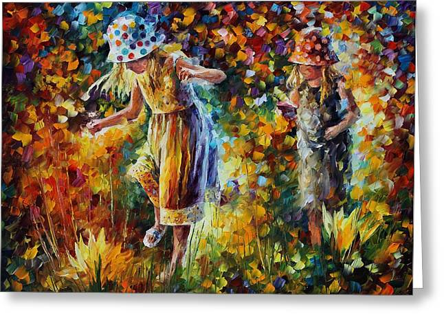Two Sisters Greeting Card by Leonid Afremov