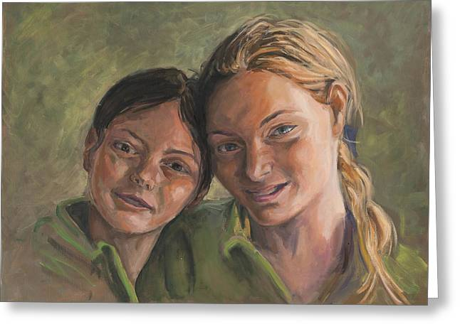 Two Sisters Greeting Card by Marco Busoni