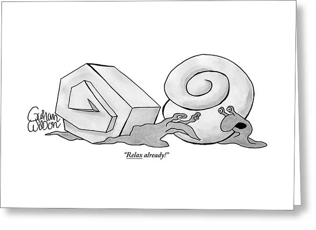 Two Snails Are Talking. One Has A Smooth Round Greeting Card