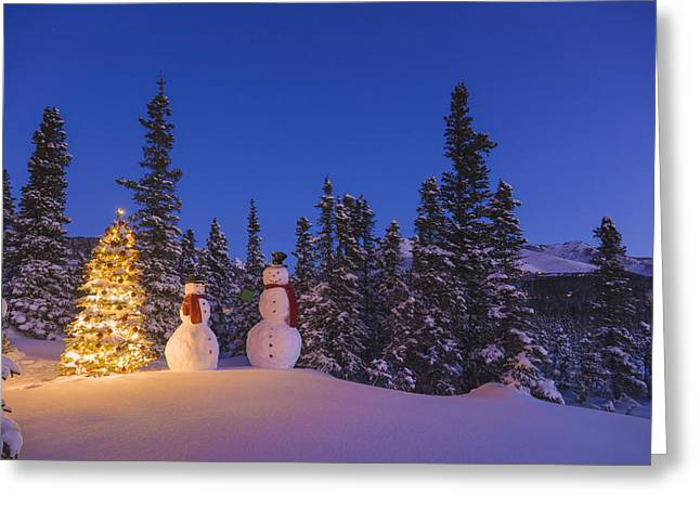 Two Snowmen Exchanging Gifts Standing Greeting Card by Kevin Smith