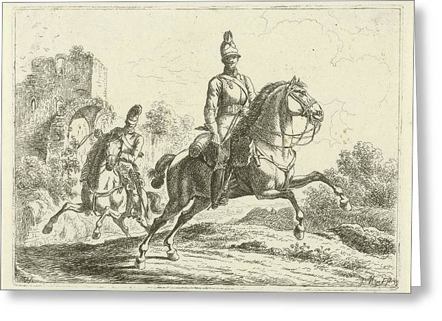 Two Soldiers On Horseback, Johannes Mock Greeting Card