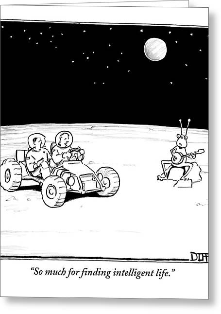 Two Space Travelers On Another Planet Or The Moon Greeting Card