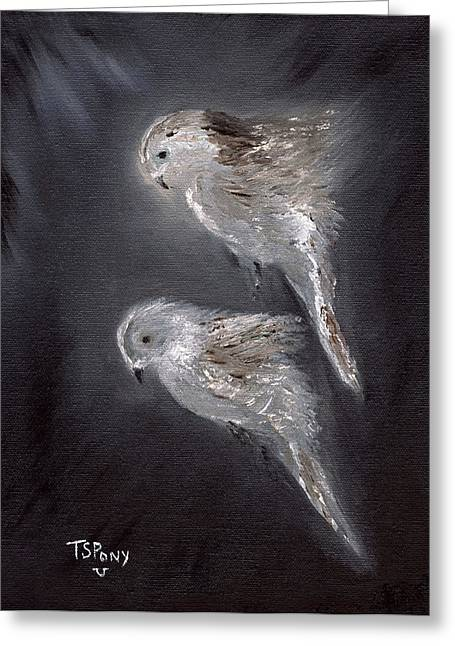 Greeting Card featuring the painting Two Spirits In The Night by Barbie Batson