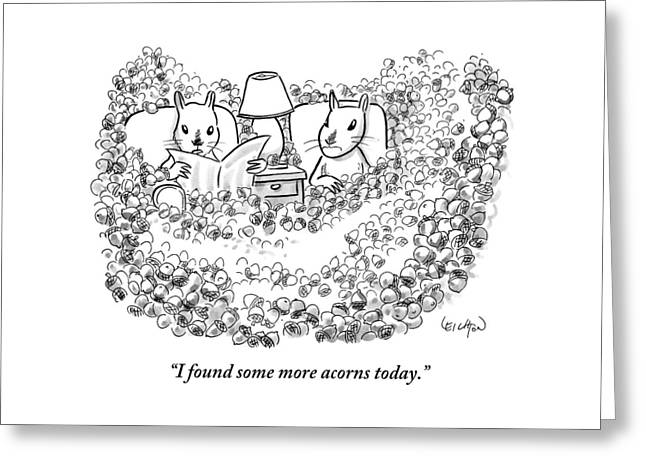 Two Squirrels Sitting In Armchairs Are Surrounded Greeting Card