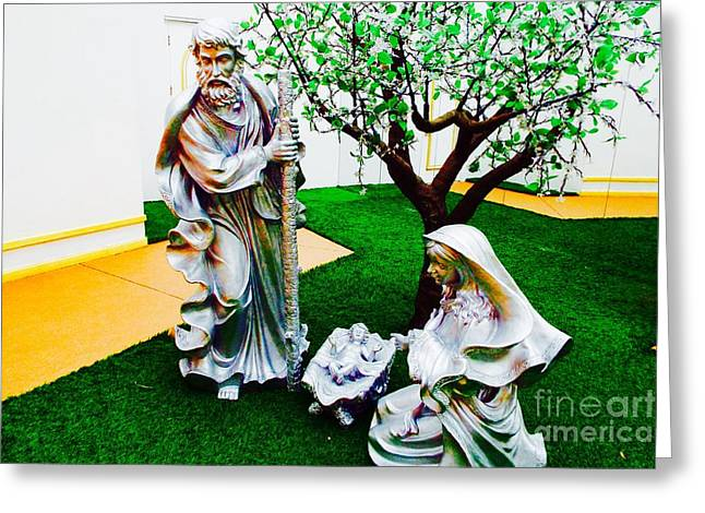 Two Statues Greeting Card by Caroline Gilmore