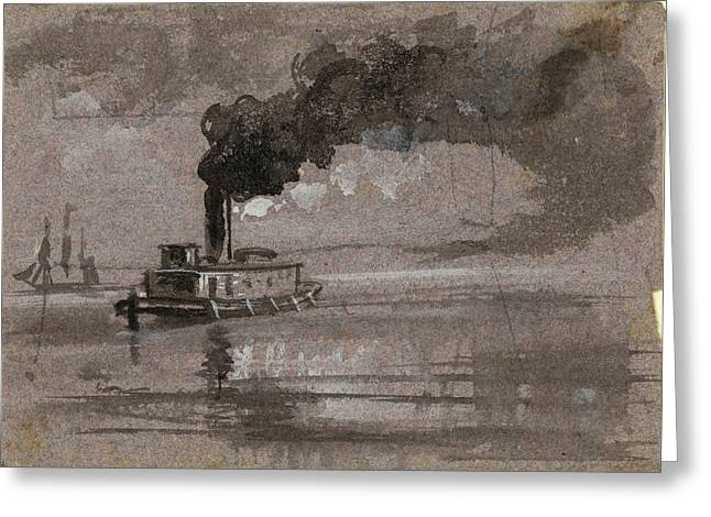 Two Steamships, 1860-1865, By Alfred R Waud, 1828-1891, An Greeting Card