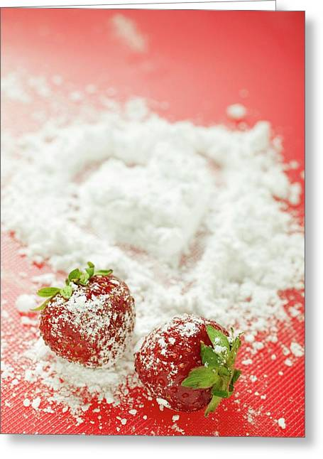 Two Strawberries With Icing Sugar Greeting Card