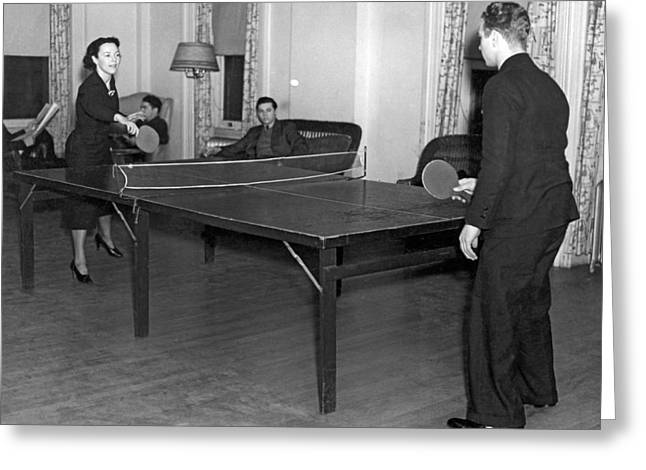 Two Students Playing Ping-pong In The Recreation Hall At Columbi Greeting Card