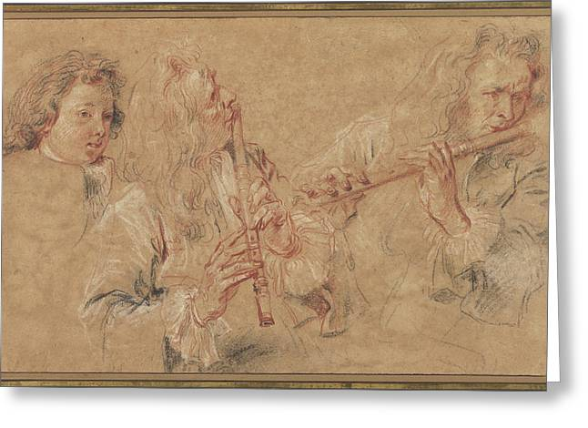 Two Studies Of A Flutist And A Study Of The Head Of A Boy Greeting Card by Litz Collection