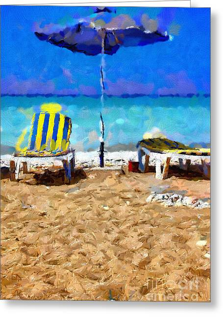 Two Sun-chairs And Umbrella Painting Greeting Card by Magomed Magomedagaev