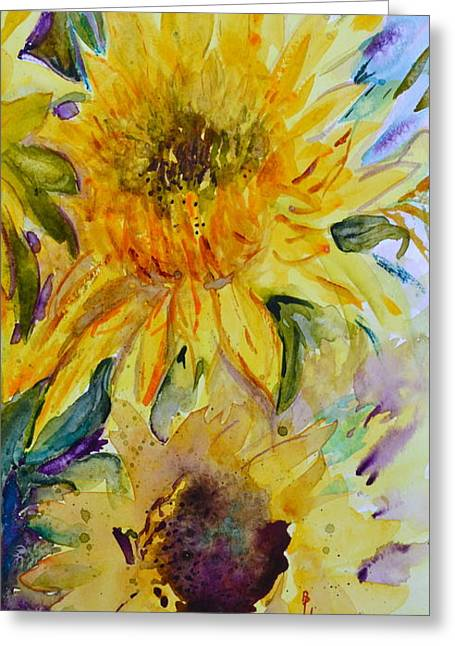 Two Sunflowers Greeting Card by Beverley Harper Tinsley