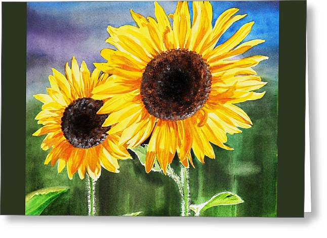 Two Sunflowers Greeting Card by Irina Sztukowski
