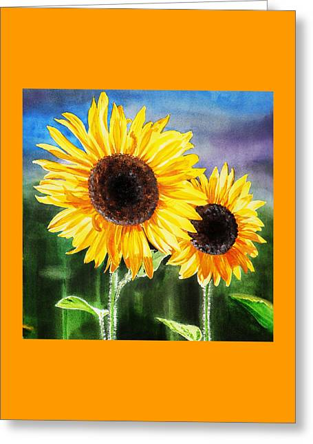 Two Suns Sunflowers Greeting Card