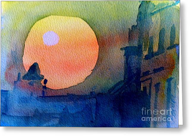 Two Suns Greeting Card by Sandra Stone