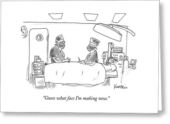 Two Surgeons In A Operating Masks Talk Greeting Card