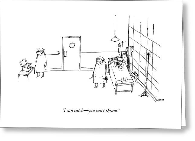 Two Surgeons Speak To Each Other In An Operating Greeting Card