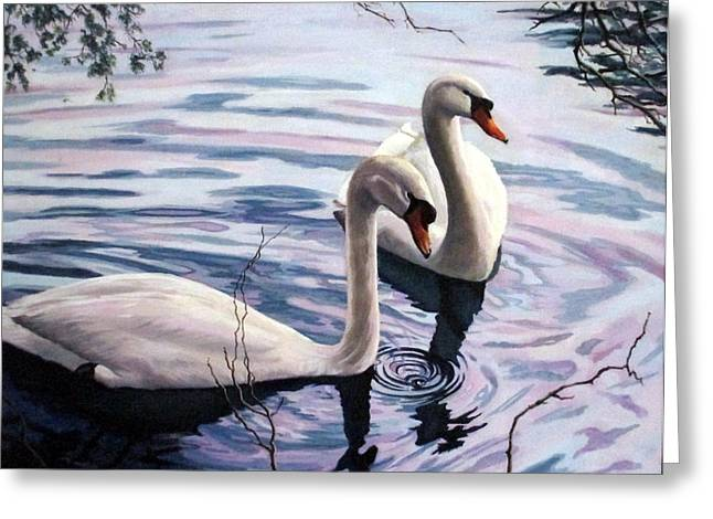 Two Swans A Swimming Greeting Card by Sandra Chase