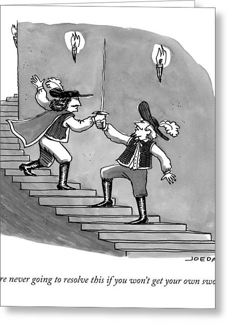 Two Swordfighters On A Staircase Grasp The Handle Greeting Card