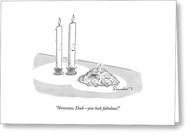 Two Tall Candles Talk To A Lumpy Greeting Card