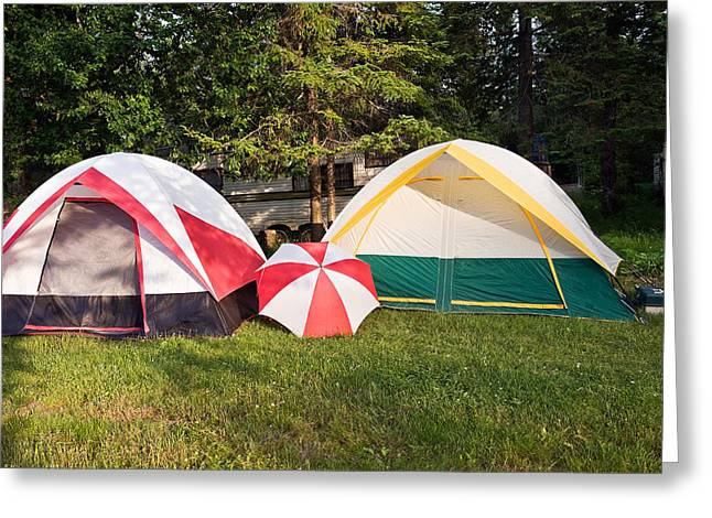 Greeting Card featuring the photograph Two Tents And Umbrella by Marek Poplawski