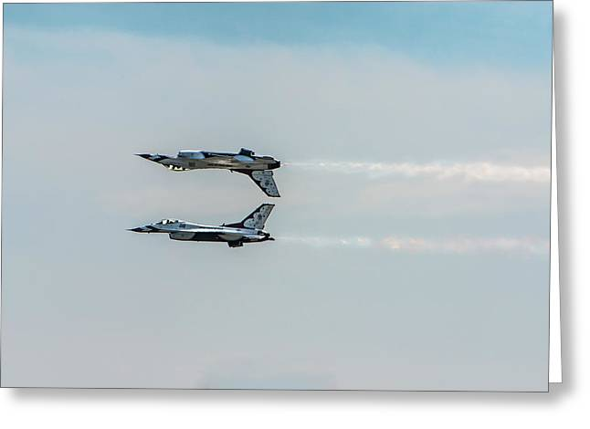 Two Thunderbird Jets Mirroring, One Greeting Card by Sheila Haddad