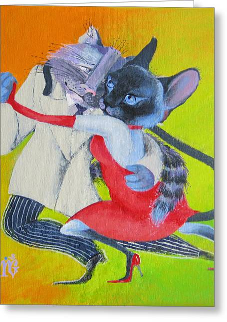 Greeting Card featuring the painting Two To Cats' Tango by Marina Gnetetsky