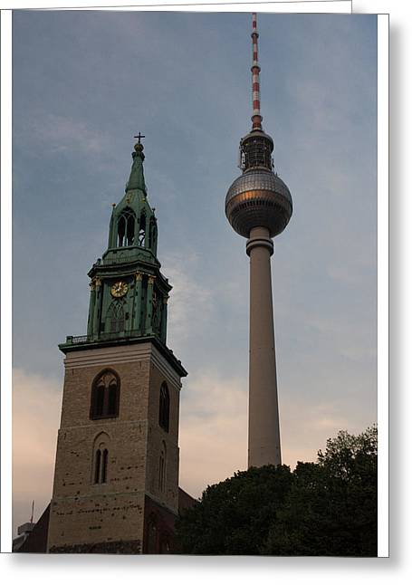 Two Towers In Berlin Greeting Card