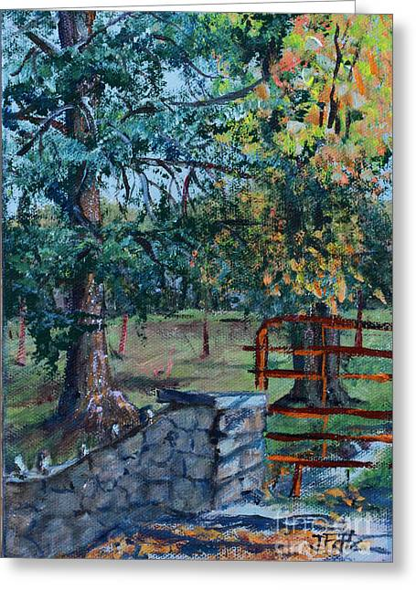 Two Trees And A Gate Greeting Card by Janet Felts