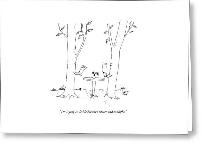 Two Trees Look At Restaurant Menus Greeting Card by Liana Finck
