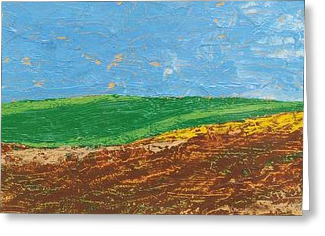 Two Trees, Rolling Hills, Tuscany, 2005 Oil On Paper Greeting Card by Trevor Neal