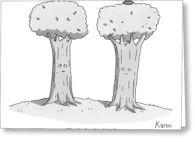 Two Trees With Faces Are Seen Next To Each Other Greeting Card
