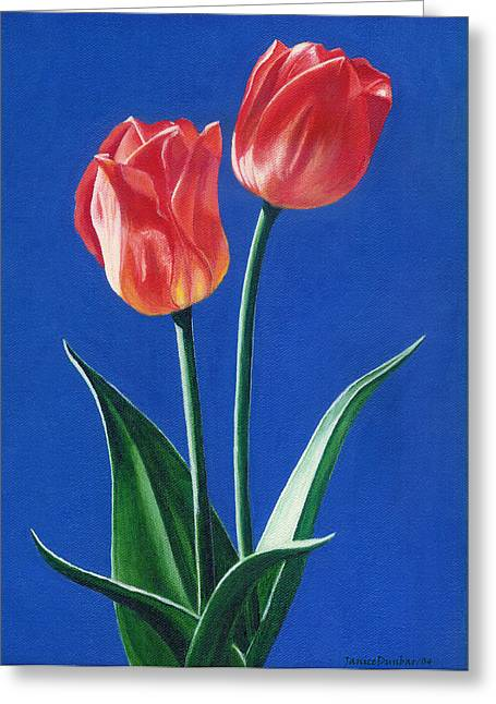 Two Tulips Greeting Card by Janice Dunbar