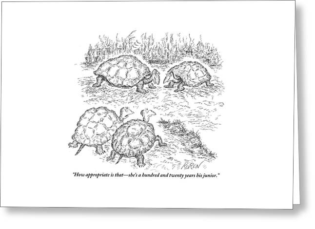 Two Turtles Look On As A Male And Female Turtle Greeting Card by Edward Koren