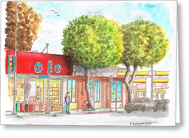 Two Tween Trees In Santa Monica Blvd - Santa Monica - Ca Greeting Card by Carlos G Groppa