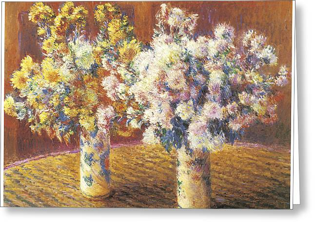 Two Vases Of Chrysanthemums Greeting Card by Claude Monet