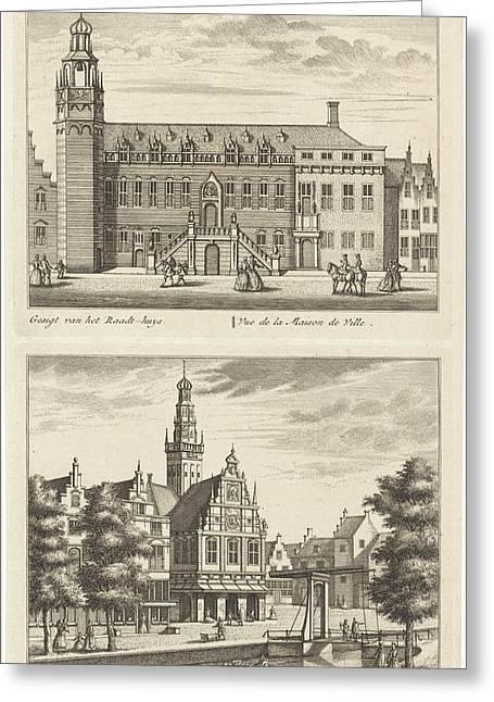 Two Views In Alkmaar With The City Hall And De Waag Greeting Card by Leonard Schenk And Abraham Rademaker