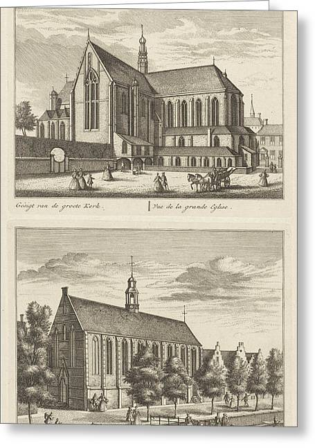 Two Views In Alkmaar With The Great Church And The Chapel Greeting Card by Leonard Schenk And Abraham Rademaker