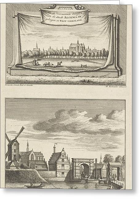 Two Views In Alkmaar With The Great Church Greeting Card by Leonard Schenk