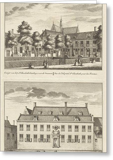 Two Views In Alkmaar With The Orphanage And The St Greeting Card by Leonard Schenk And Abraham Rademaker