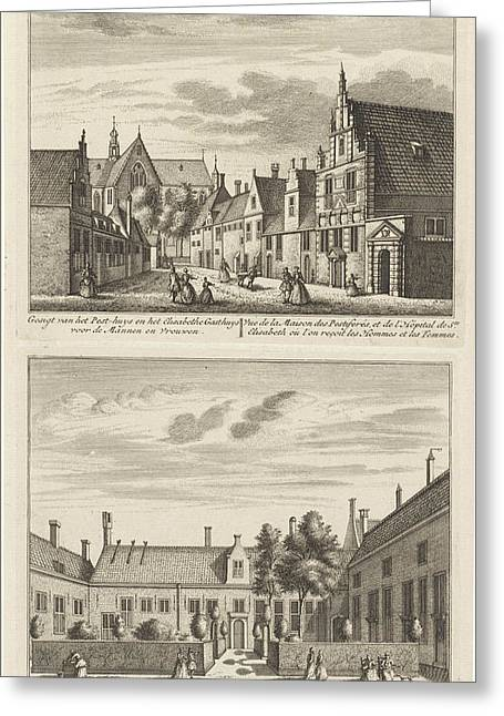 Two Views In Alkmaar With The Plague House And St Elisabeth Greeting Card by Leonard Schenk And Abraham Rademaker