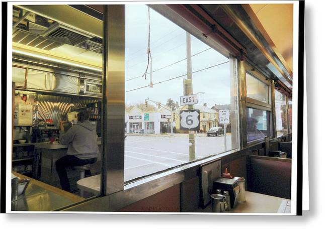 Two Views Inside The Orchid Diner Greeting Card by Kathy Barney