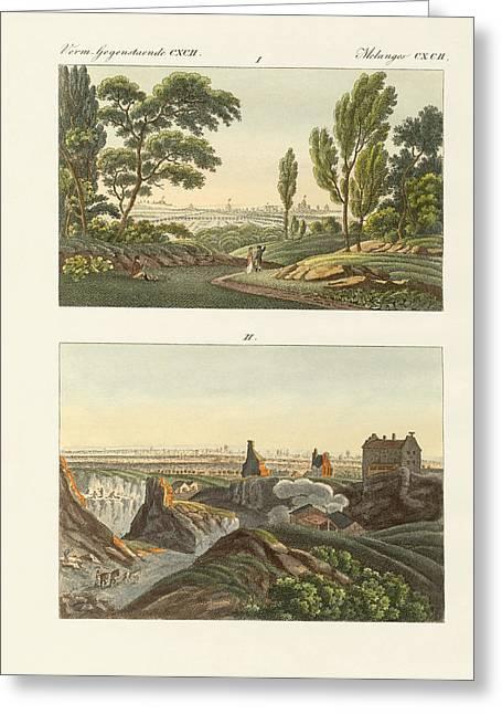 Two Views Of Paris Greeting Card