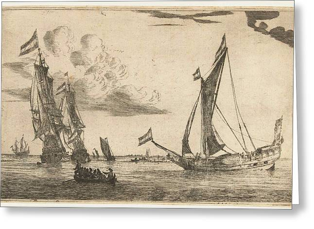 Two Warships And A Yacht, Reinier Nooms, 1650 - 1664 Greeting Card