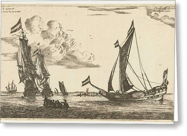 Two Warships And A Yacht, Reinier Nooms Greeting Card