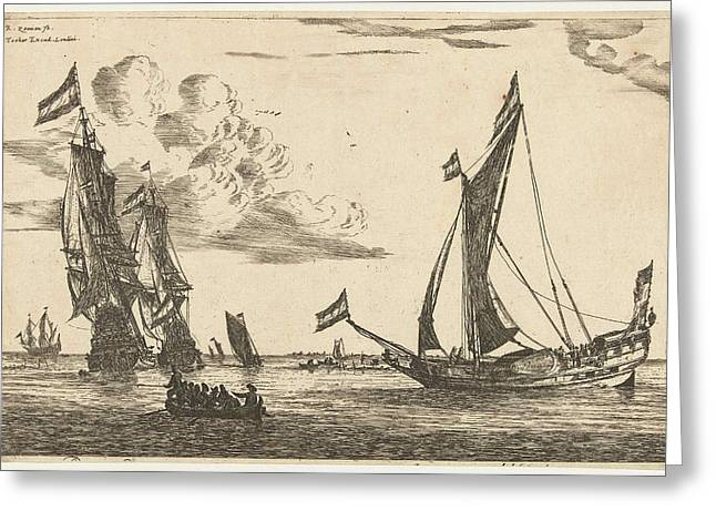 Two Warships And Hunting, Print Maker Reinier Nooms Greeting Card
