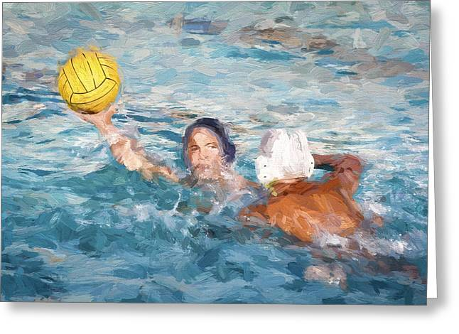 Two Water Polo Players Greeting Card
