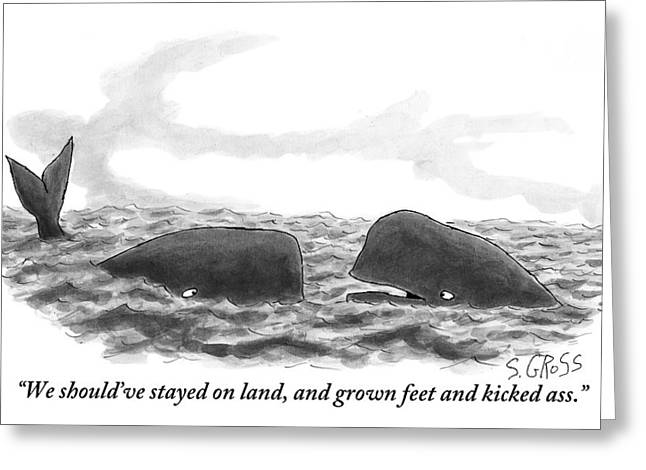 Two Whales Are Seen In Water In Conversation Greeting Card